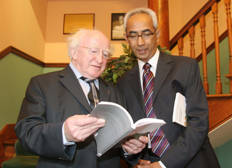 Michael D Higgins and Dr. Vinodh Jaichand, Deputy Director of the Irish Centre for Human Rights at NUI Galway