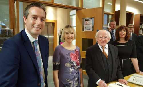 President visits Linenhall Library