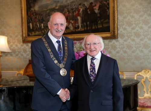 President Receives Lord Mayor Of Dublin Mr. Nial Ring On A Courtesy Call