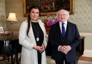 President receives Greek Minister for Culture Ms. Lydia Koniordou on a courtesy call