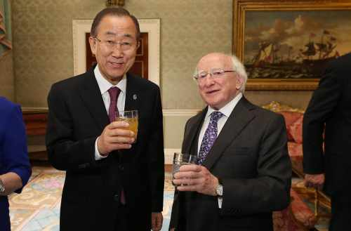 President Michael D. Higgins And United Nations Secretary General Ban Ki Moon Enjoy A Glass Of Freshly Pressed Aras Apple Juice.