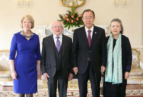 President Michael D. Higgins And United Nations Secretary General Ban Ki Moon With His Wife, Yoo Soon Taek And Mrs Sabina Higgins  In áras An Uachtaráin Today On The Occasion Of The 60th Anniversary Of Ireland's Membership Of The United Nation