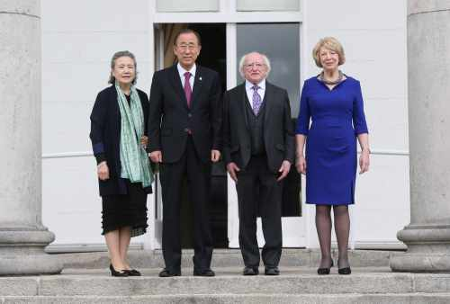 President Michael D. Higgins And United Nations Secretary General Ban Ki Moon With His Wife, Yoo Soon Taek And Mrs Sabina Higgins In áras An Uachtaráin Today On The Occasion Of The 60th Anniversary Of Ireland's Membership Of The United Nations.