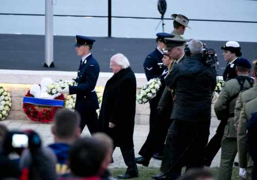 Pictured Is President Michael D Higgins At A Wreath Laying Ceremony At The Anzac Spirit Of Place And Dawn Service At Gallipoli