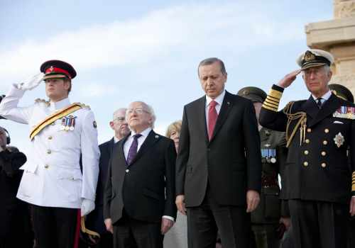 Pictured Is Hrh Prince Harry, President Michael D Higgins,  President Of The Republic Of Turkey H.e. Recep Tayyip Erdogan And Hrh Prince Charles At Helles Memorial, Gallipoli