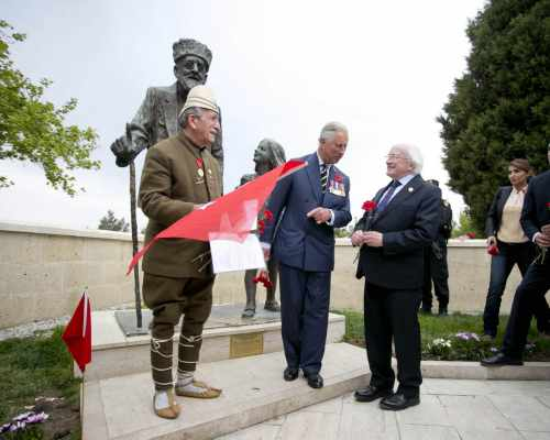 Hrh Prince Charles Invites President Michael D Higgins To Meet A Turkish Veteran At A Statue To The Oldest Turkish Veteran, 'Huseyin Kacmaz' Who Died In 1994 At The Age Of 110  At The Memorial To The Martyrs Of The Turkish 57th Regiment At Gallipoli