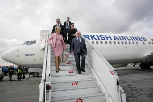 Pictured Is President Michael D Higgins And His Wife Sabina Arriving At Istanbul Ataturk Airport