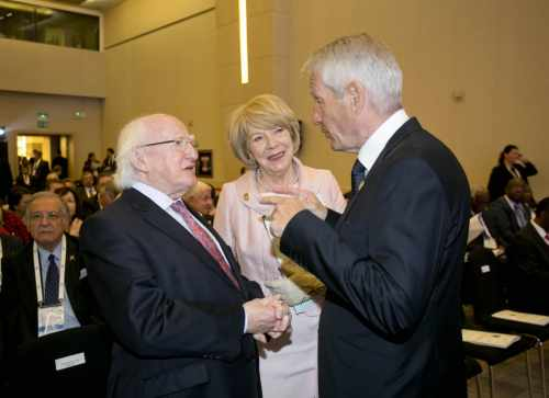 President Michael D Higgins And His Wife Sabina With Thorbjorn Jagland, Secretary General, Council Of Europe  At The Istanbul Congress Centre
