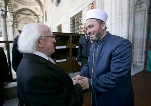 Pictured Is President Michael D Higgins Meeting Imam Istak Kizilaslan During A Visit To The Blue Mosque In Istanbul