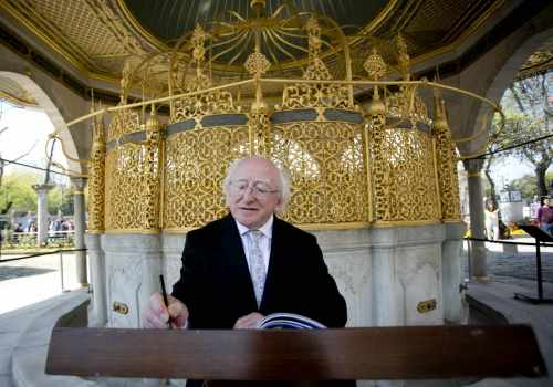 Pictured Is President Michael D Higgins Signs The Visitors Book At The Hagia Sofia In Istanbul