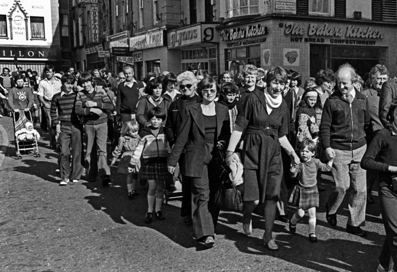 Michael D Higgins and his wife Sabina with their daughter Alice Mary while taking part in a 'Sport For All' day walk through Galway city centre in October 1978.   Photograph: Joe O'Shaughnessy.  October 1978