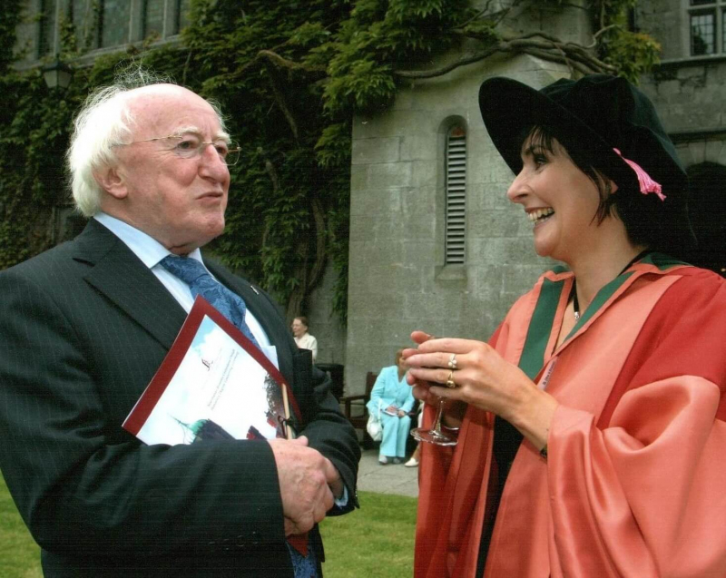 With Enya who received an honorary degree from UCG in 1997