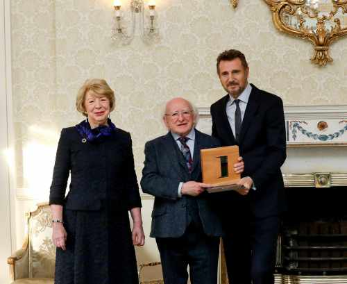 President Presents Liam Neeson With Distinguished Service For The Irish Abroad Award